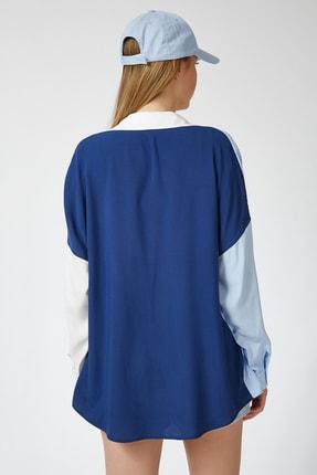 Happiness İst. Kadın Mavi Blok Renkli Oversize Viskon Gömlek DD00843 4
