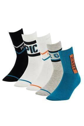 Defacto Desenli Kutulu 5'li Soket Çorap 1