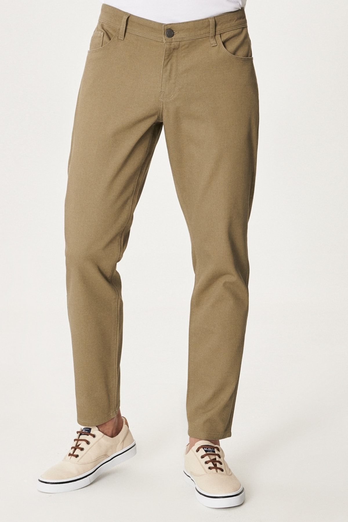 Erkek Yeşil Kanvas Slim Fit Dar Kesim 5 Cep Pantolon