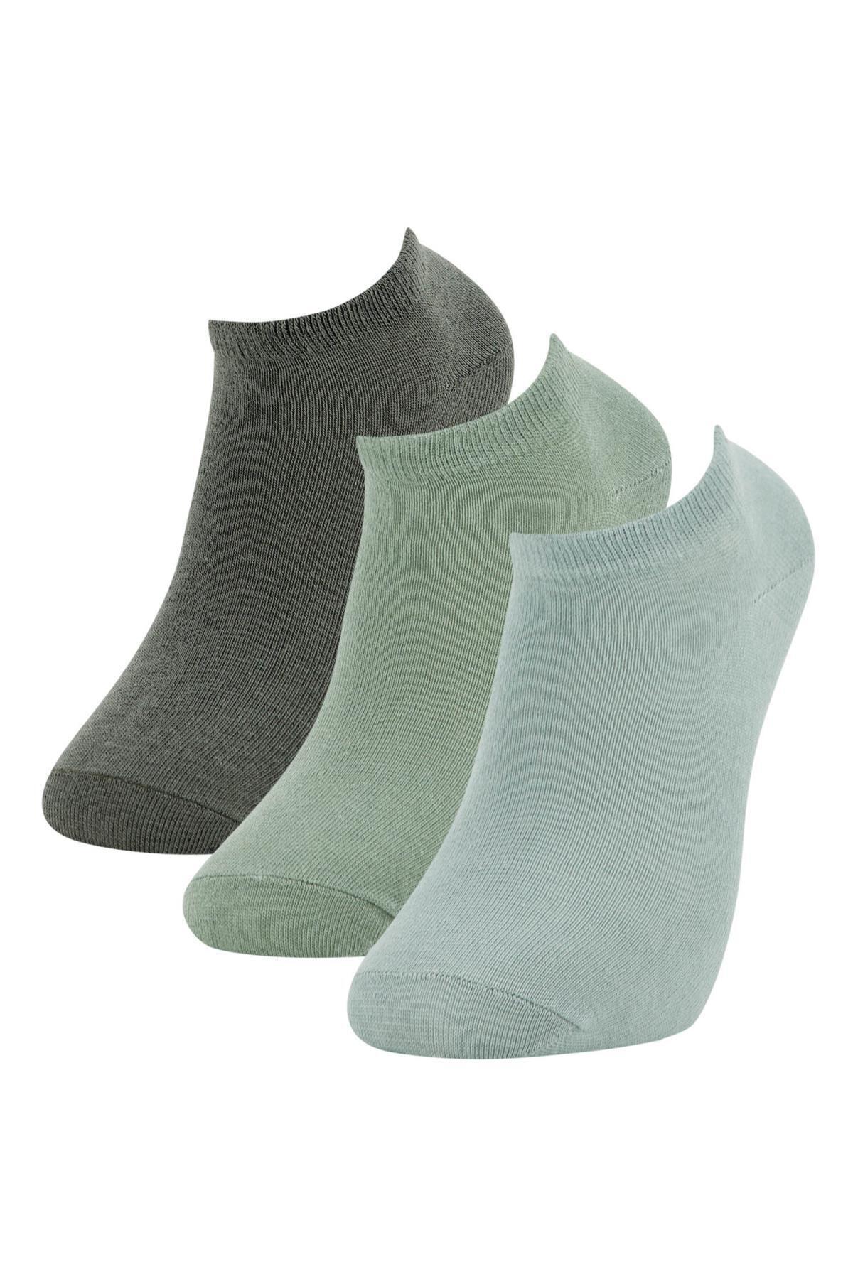 Defacto Erkek Yeşil 3'lü Patik Çorap 0
