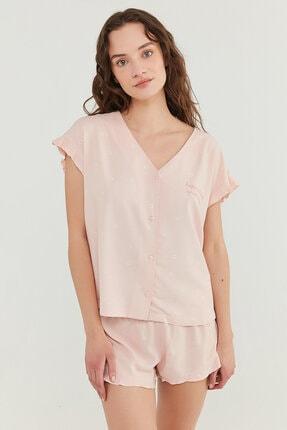 Penti Kadın Somon Gorgeous Gömlek Şort Takımı 0