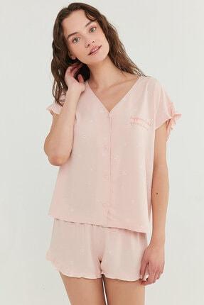 Penti Kadın Somon Gorgeous Gömlek Şort Takımı 1