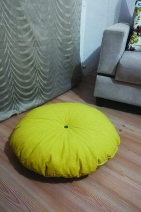 Sarı Kırlent Mini Yer Puff Minder Oval Anti-bakteriyel Kumaş Yumuşak Doku Kırlent K-sarı İP/KRLNTT-K.SARI01