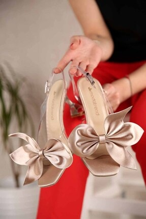 Ccway Kadın Lotus Şeffaf Topuklu Sandalet Ten Saten 0