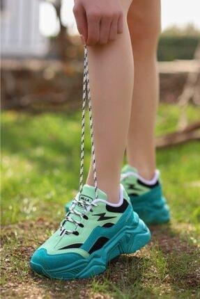 Madam Tarz Kadın Yeşil Siyah Bağlı Kalın Taban Sneaker 0