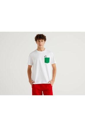 Benetton Erkek Beyaz Snoopy Cep Detaylı T-Shirt 0