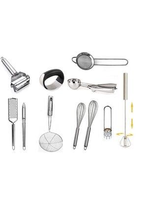 AYBABA STORE Çelik Çeyizlik Pratik Mutfak Hazırlık Seti 11 Parça 0