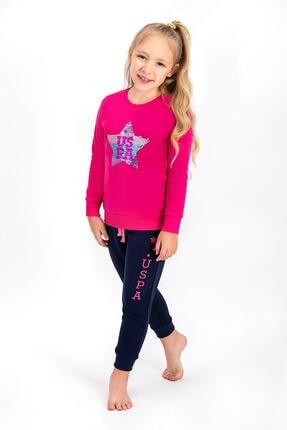 US Polo Assn Fuşya Lisanslı Kız Çocuk Eşofman Takımıı 0