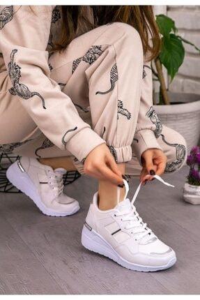 Espardile Kadın Beyaz  Dux Cilt Bağcıklı Spor Ayakkabı 1