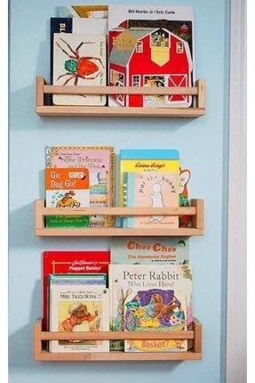 OlcayAksesuar Montessori Kitaplık Çocuk Bebek Odası Duvar Rafı Ahşap Kitaplık Raf 3 Adet 50 Cm 1