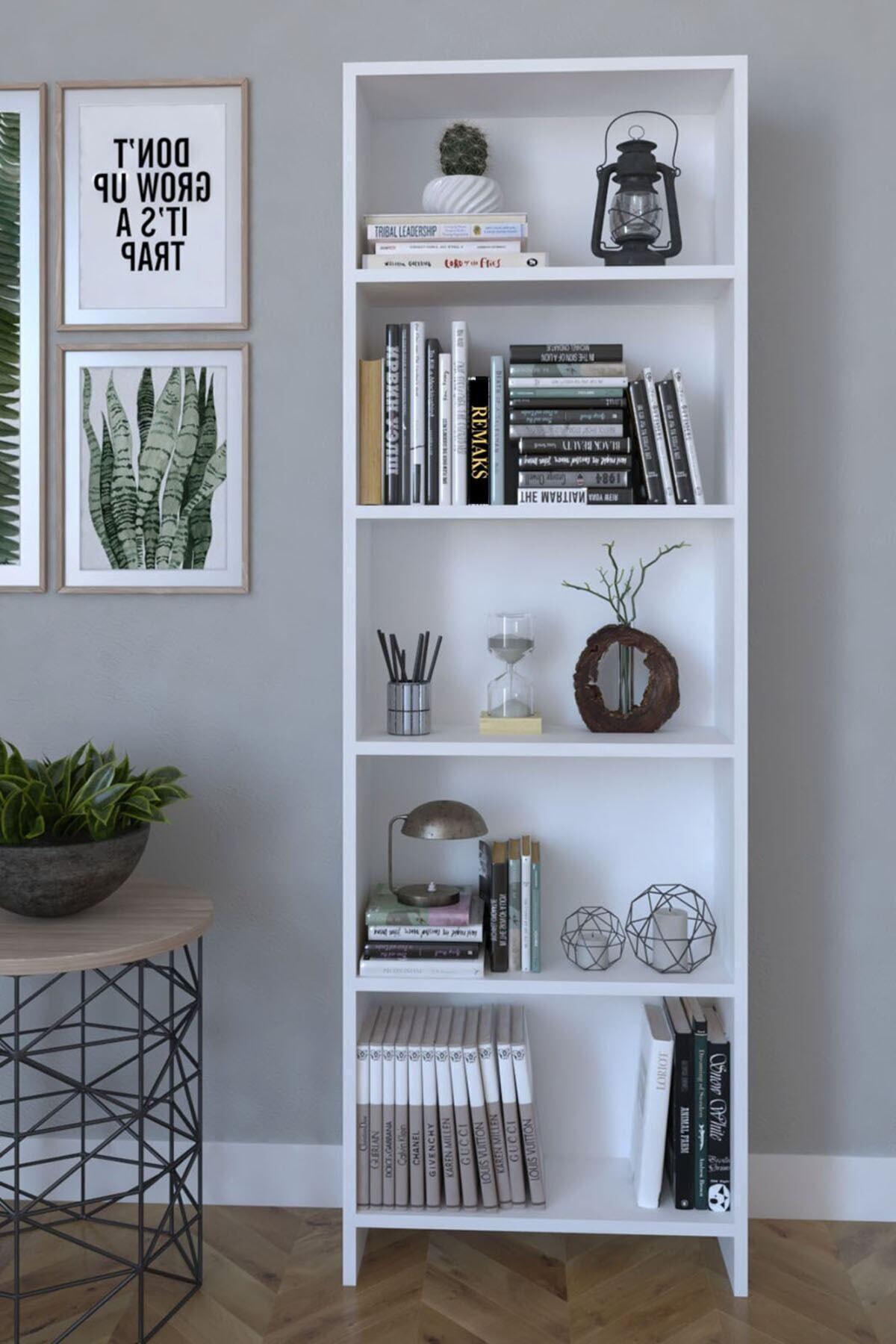 5 Raflı Modern Kitaplık Dosya Kitap Rafı Ofis Ev Rafı Kitap Raf Beyaz