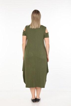 Womenice Kadın Haki Önü Baskılı Büyük Beden Elbise 4