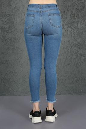 ChiChero Kadın Mavi U Paça Yıkamalı Yüksek Bel Skinny Jeans 3