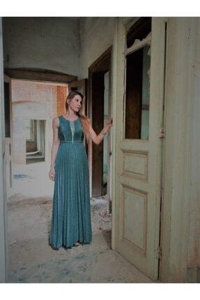 Kadın Zümrüt Yeşili Abiye Elbise YPE01