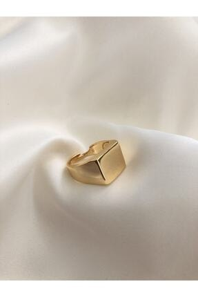 The Y Jewelry Gold Kare Şövalye Ayarlanabilir Yüzük 0