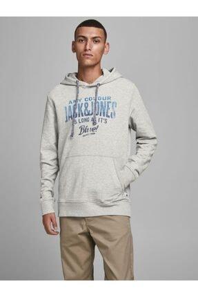Jack & Jones JJ30JACK PRINT SWEAT HOOD Gri Erkek Sweatshirt 101057584 1