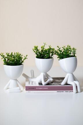 XYZ SAKSI Insansı Saksılar Beyaz 4'lü Set Yapay Çiçekli 1