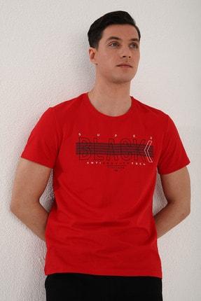 Tommy Life Erkek Kırmızı Black Yazı Baskılı Rahat Kalıp O Yaka T-shirt - 87954 3