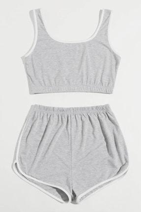 Imoda Kadın Gri Askılı Pamuklu Pijama Takımı 2