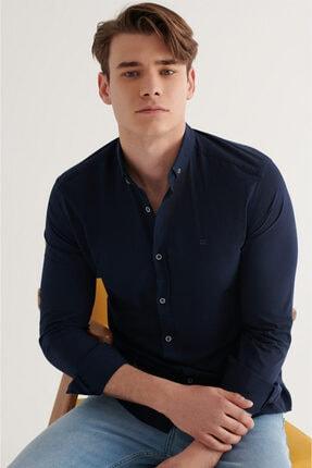 Avva Erkek Lacivert Düz Düğmeli Yaka Slim Fit Uzun Kol Vual Gömlek A11b2206 1