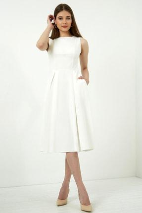 Vis a Vis Kadın Beyaz Midi Kolsuz Elbise 3
