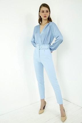 Vis a Vis Kadın Mavi Yüksek Bel Kemerli Pantolon 3