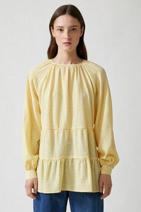 Koton Kadın Sarı Ekoseli Bluz 1YAK68815CW 2