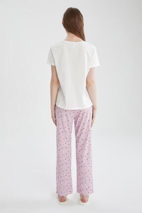Defacto Kadın Mor Relax Fit Baskılı Kısa Kollu Pijama Takımı 3