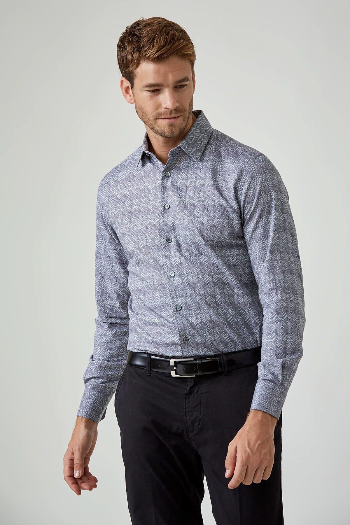 Erkek Mavi  Pamuk  Gömlek  - 184507012