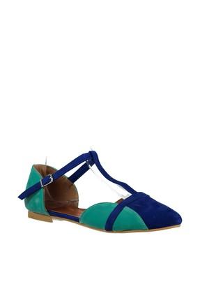 Fox Shoes Saks Mavi Su Yeşili Kadın Ayakkabı B726881802 3