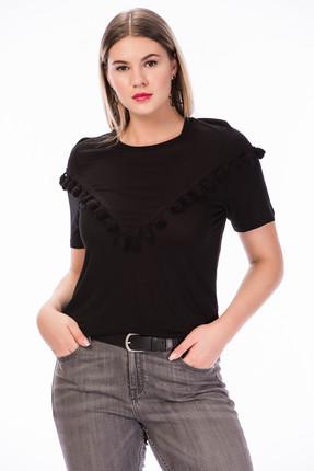 Picture of Kadın Siyah Püskül Detaylı Örme T-Shirt BPDOB2