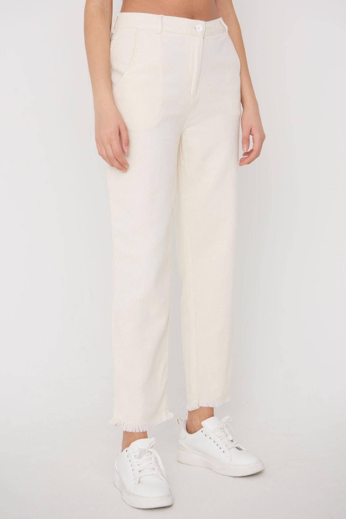 Addax Kadın Ham Paça Detaylı Pantolon Pn11-0049 - K8 Adx-0000023876 0