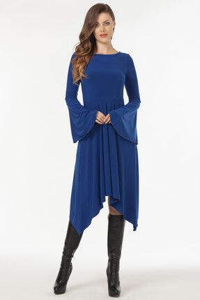 Laranor Kadın Saks Asimetrik Kesim Elbise 19L6477 0