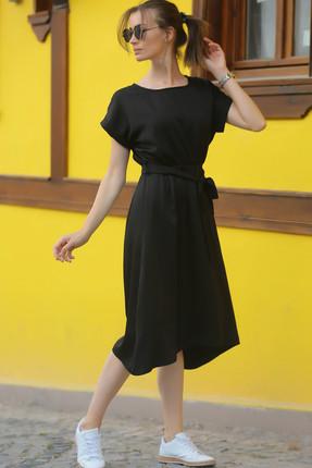 armonika Kadın Siyah Beli Lastikli Bağlamalı Elbise ARM-18Y001133 0