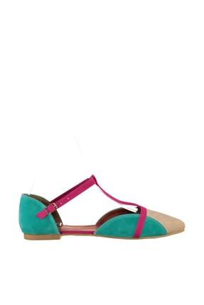 Fox Shoes Ten Fuşya Yeşil Kadın Ayakkabı B726881802 1