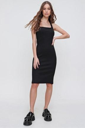 Trend Alaçatı Stili Kadın Siyah Sırtı Çapraz Bantlı Fitilli Elbise ALC-X6166 2