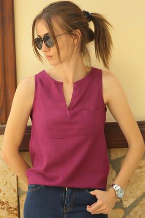 armonika Kadın Mürdüm Yakası Açık Cepli Kolsuz Bluz ARM-18Y003014 0