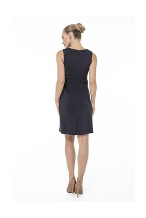 Accouchee Lacivert Emzirme Özellikli Şık Elbise 3