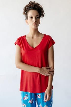 Kadın Koral V Yaka Tencel Pijama Üstü 29639-B132