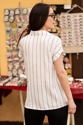 armonika Kadın Füme Keten Çizgili Kısa Kol Gömlek ARM-19Y001067 3