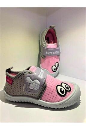 Gezer Kız Çocuk Pembe Gri Keten Anaokulu Kreş Ev Ayakkabısı 0
