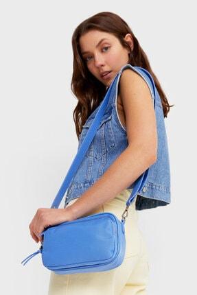 Stradivarius Kadın Mavi Kumaş Çapraz Askılı Çanta 4