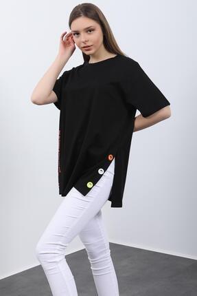 Hepsi Kıyafet Kadın Siyah Baskılı Kuş Gözlü T-shirt 1