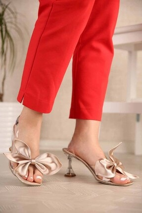 Ccway Kadın Lotus Şeffaf Topuklu Sandalet Ten Saten 1