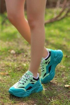 Madam Tarz Kadın Yeşil Siyah Bağlı Kalın Taban Sneaker 2
