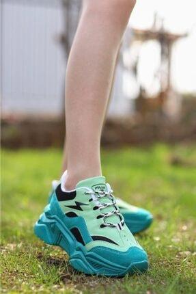 Madam Tarz Kadın Yeşil Siyah Bağlı Kalın Taban Sneaker 3