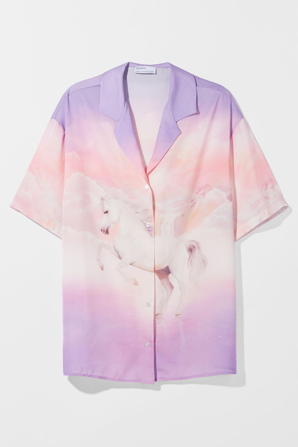 Bershka Kadın Mor Saten Unicorn Oversize Gömlek