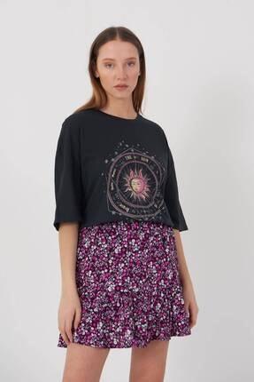 Addax Kadın Füme Baskılı Oversize T-Shirt P9407 - T8 Adx-0000022025 1