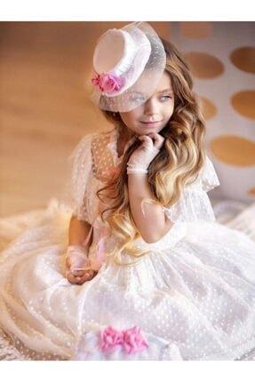 Riccotarz Kız Çocuk Beyaz Noble Beaute Şapkalı Elbise 3