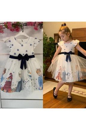 Pumpido Kız Çocuk Beyaz 4-7 Yaş Karlar Ülkesi Prensesi Elsa Elbisesi 0